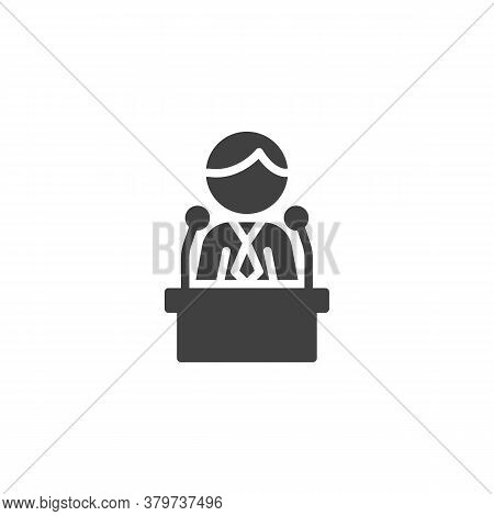 Politician Speaker Vector Icon. Filled Flat Sign For Mobile Concept And Web Design. Orator Speaking