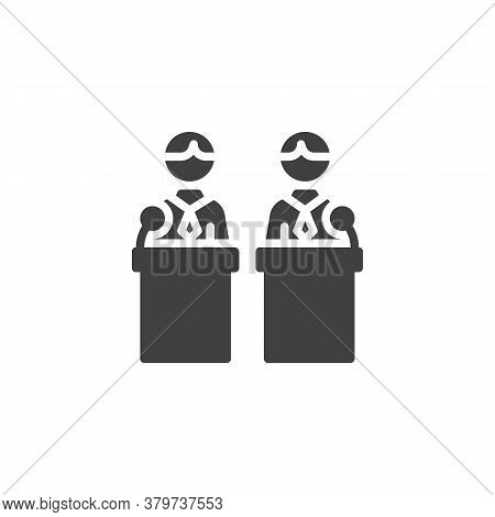 Political Debate Two Candidates Vector Icon. Filled Flat Sign For Mobile Concept And Web Design. Deb