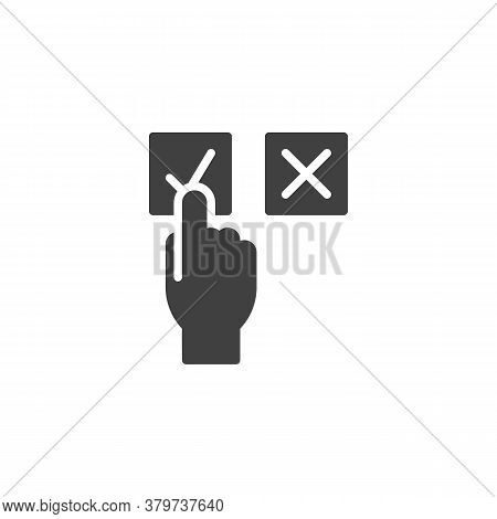Hand Choose Approve Vector Icon. Filled Flat Sign For Mobile Concept And Web Design. Approval And De