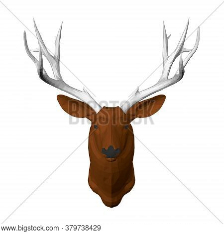 Polygonal Brown Deer Head With Large Antlers. Front View. 3d. Vector Illustration