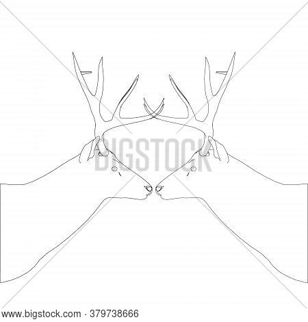 Deer Head Contour With Large Antlers Made Of Black Lines On A White Background. Side View. Vector Il
