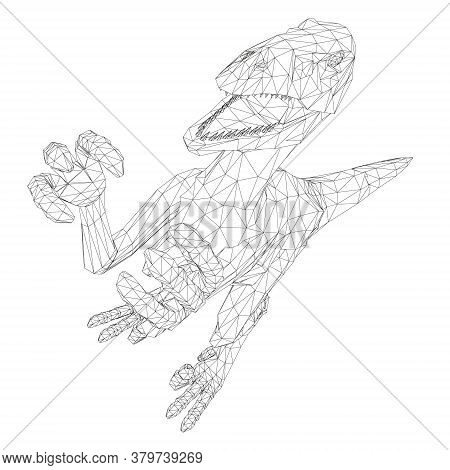 Dinosaur Wireframe Made Of Black Lines On A White Background. Angry Dinosaur With Raised Paws And Sh