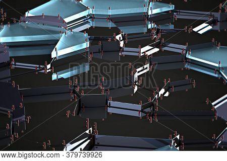 broken glass with sharp pieces over black background 3d rendering