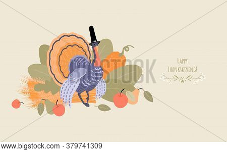 Thanksgiving Banner With A Turkey Wearing A Pilgrim Hat On A Background Of Plants. Illustration In F