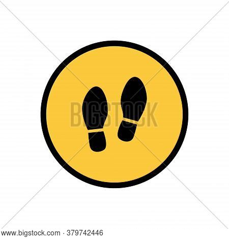 Isolation, Virus Protection, Personal Boundaries. Foot Symbol, Sign. Vector Illustration Isolated On