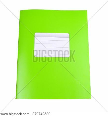 Green Notebook Isolated On A White Background. School Education. Copy Space. Place For Text. Frame F