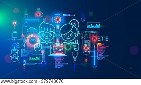Electronics Engineering And Hardware Programming Learning For Teens. Boy And Girl Coding On Laptop I