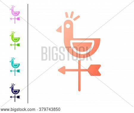 Coral Rooster Weather Vane Icon Isolated On White Background. Weathercock Sign. Windvane Rooster. Se