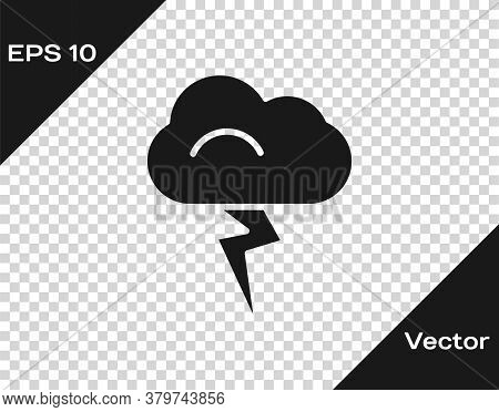 Black Storm Icon Isolated On Transparent Background. Cloud And Lightning Sign. Weather Icon Of Storm