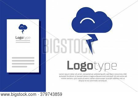 Blue Storm Icon Isolated On White Background. Cloud And Lightning Sign. Weather Icon Of Storm. Logo