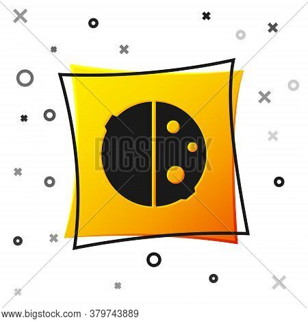 Black Eclipse Of The Sun Icon Isolated On White Background. Total Sonar Eclipse. Yellow Square Butto