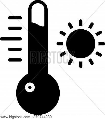 Black Meteorology Thermometer Measuring Icon Isolated On White Background. Thermometer Equipment Sho