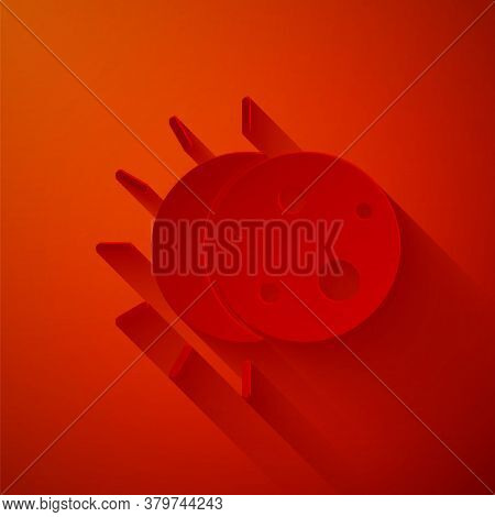 Paper Cut Eclipse Of The Sun Icon Isolated On Red Background. Total Sonar Eclipse. Paper Art Style.