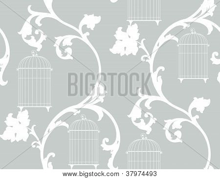 Vintage Background With Bird Cages