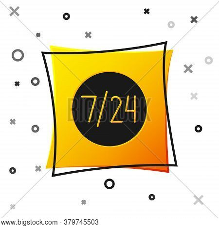 Black Clock 24 Hours Icon Isolated On White Background. All Day Cyclic Icon. 24 Hours Service Symbol