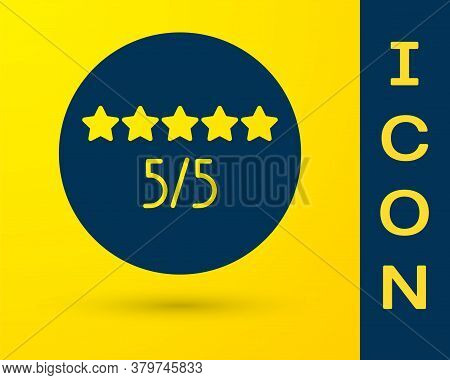 Blue Consumer Or Customer Product Rating Icon Isolated On Yellow Background. Vector Illustration