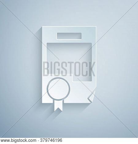 Paper Cut Certificate Template Icon Isolated On Grey Background. Achievement, Award, Degree, Grant,