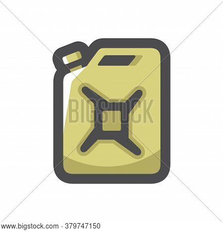 Gasoline Canister Green Jerrican Vector Icon Cartoon Illustration.