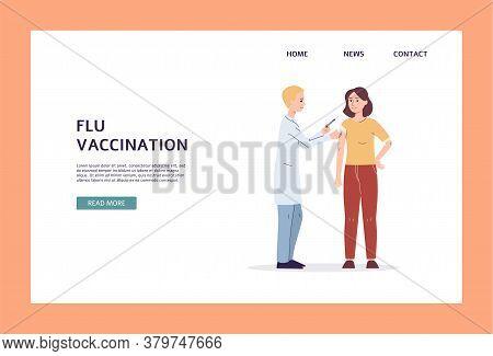 Flu And Influenza Vaccination And Immunization Banner Flat Vector Illustration.