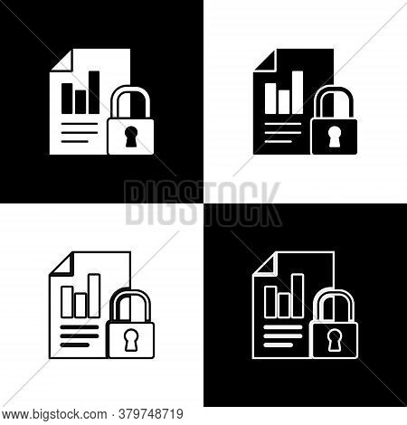 Set Document And Lock Icon Isolated On Black And White Background. File Format And Padlock. Security