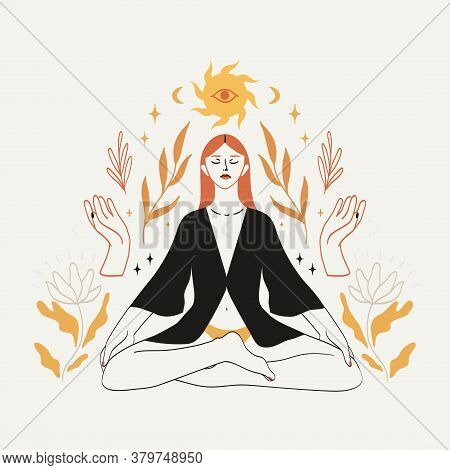 Meditating Woman Sitting In Lotus Pose In Boho Style With Celestial Bodies, Mystic And Floral Elemet
