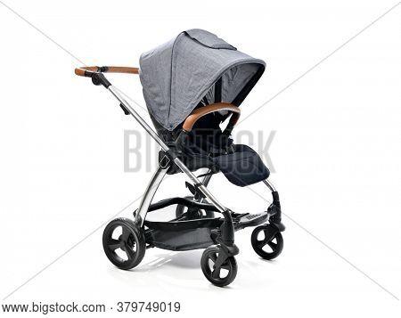 Baby stroller isolated on white background, modern design