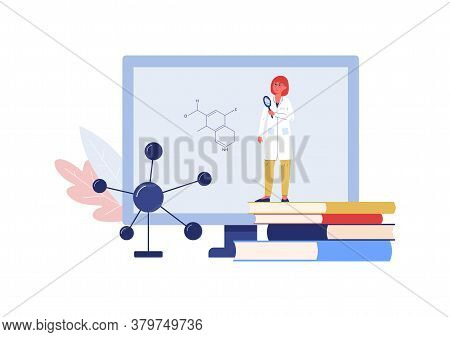 Chemistry Online Lesson Or Webinar With Chemist Vector Illustration Isolated.