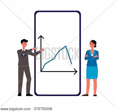 Economic Crisis, Downturn With Business People Flat Vector Illustration Isolated.