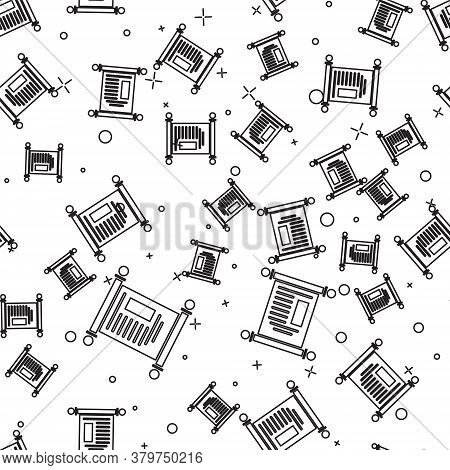 Black Line Decree, Paper, Parchment, Scroll Icon Icon Isolated Seamless Pattern On White Background.