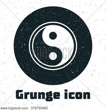 Grunge Yin Yang Symbol Of Harmony And Balance Icon Isolated On White Background. Monochrome Vintage
