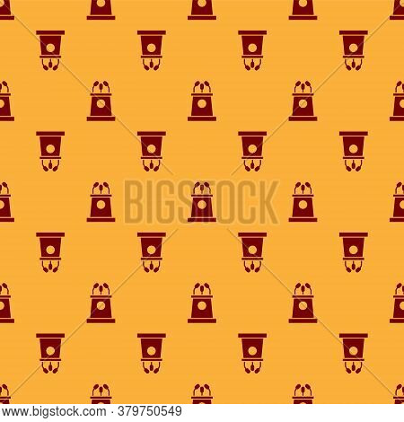 Red Stage Stand Or Debate Podium Rostrum Icon Isolated Seamless Pattern On Brown Background. Confere