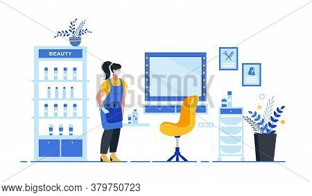 Hairdresser With Customer In Protective Mask And Gloves. Opening After Quarantine. Compliance With S