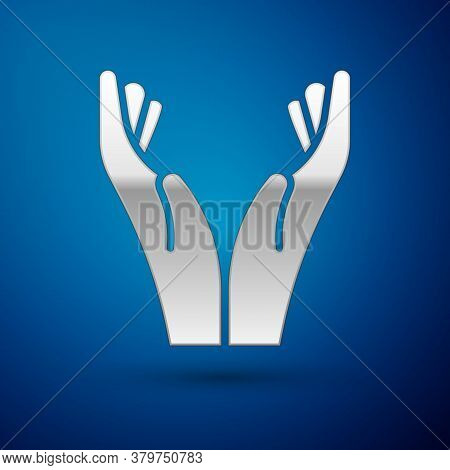 Silver Hands In Praying Position Icon Isolated On Blue Background. Prayer To God With Faith And Hope