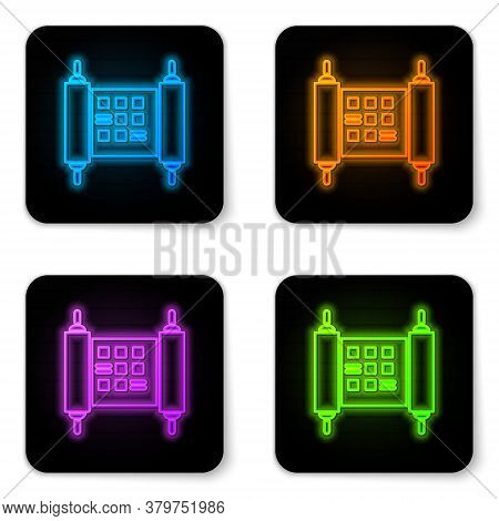 Glowing Neon Decree, Paper, Parchment, Scroll Icon Icon Isolated On White Background. Chinese Scroll