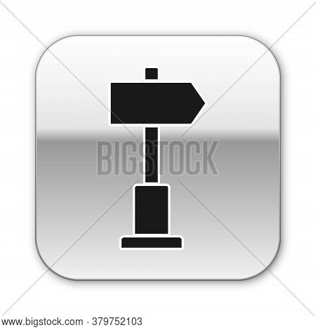 Black Road Traffic Sign. Signpost Icon Isolated On White Background. Pointer Symbol. Street Informat