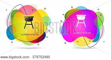 Color Barbecue Grill Icon Isolated On White Background. Bbq Grill Party. Abstract Banner With Liquid