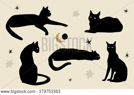 Black Sitting Cats. Silhouettes Of Cats, Sun, Stars, And Moon. Modern Flat Vector Illustration Isola