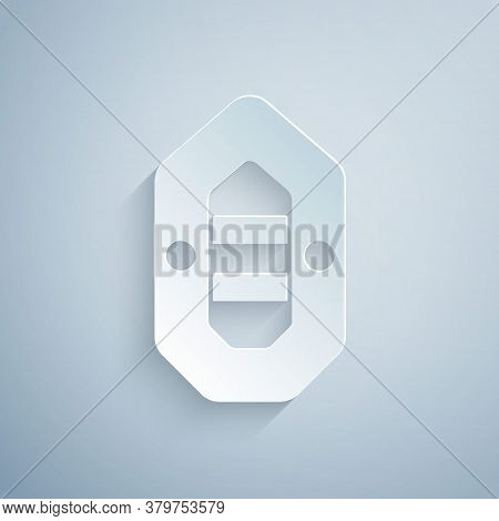 Paper Cut Rafting Boat Icon Isolated On Grey Background. Inflatable Boat. Water Sports, Extreme Spor