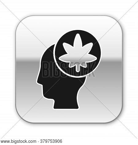 Black Male Head In Profile With Marijuana Or Cannabis Leaf Icon Isolated On White Background. Mariju