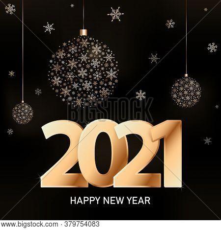 Vector 2021 Happy New Year Trendy Greeting Card. Xmas Minimal Luxury Concept. Golden Xmas Balls Of S