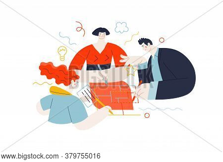 Business Topics - Project Collaboration. Flat Style Modern Outlined Vector Concept Illustration. A G