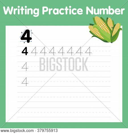 Number Four Tracing Practice Worksheet With 4 Corn. Number Four Printable Worksheet For Preschool