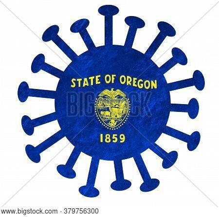 State Flag Of Oregon With Corona Virus Or Bacteria