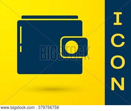 Blue Wallet Icon Isolated On Yellow Background. Purse Icon. Cash Savings Symbol. Vector Illustration