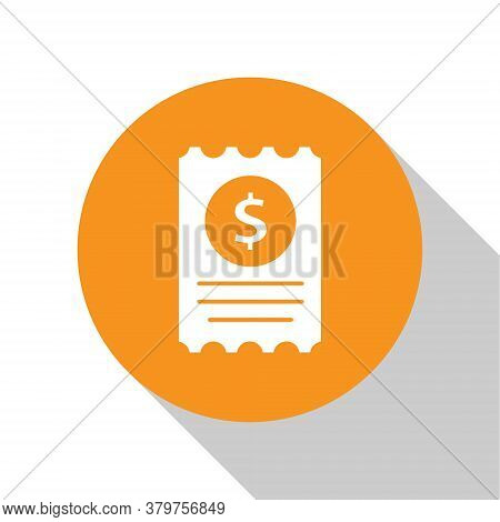 White Paper Check And Financial Check Icon Isolated On White Background. Paper Print Check, Shop Rec