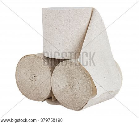 Three Rolls Of Grey Toilet Paper Isolated On White Background