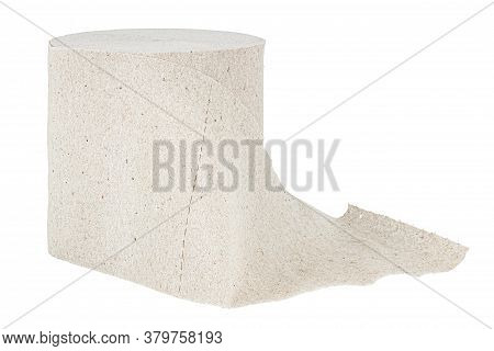 Roll Of Grey Toilet Paper Isolated On White Background