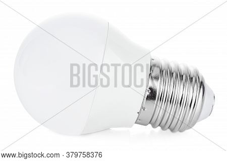 Lying Contemporary Small Size Led Lamp Close-up Isolated On White Background