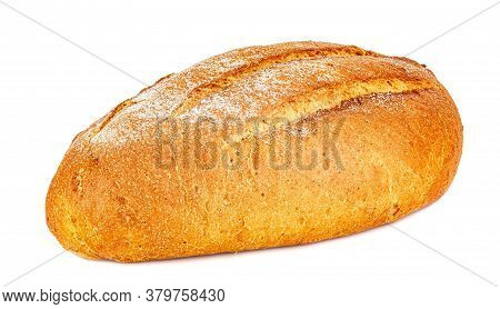 Loaf Of Freshly Baked Rye Bread Isolated On White Background