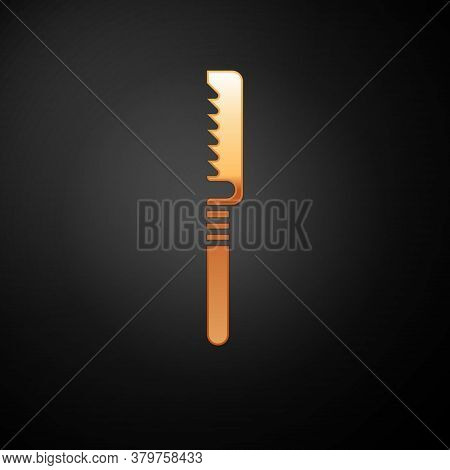Gold Medical Saw Icon Isolated On Black Background. Surgical Saw Designed For Bone Cutting Limb Ampu